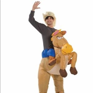 One size fits all cowboy and horse costume blowup